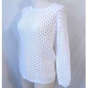 Cynthia Rowley Open Knit White Sweater